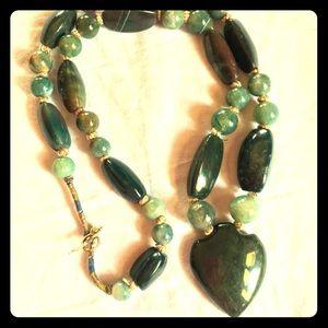 Vintage Jade heart necklace. Stunning heart item!